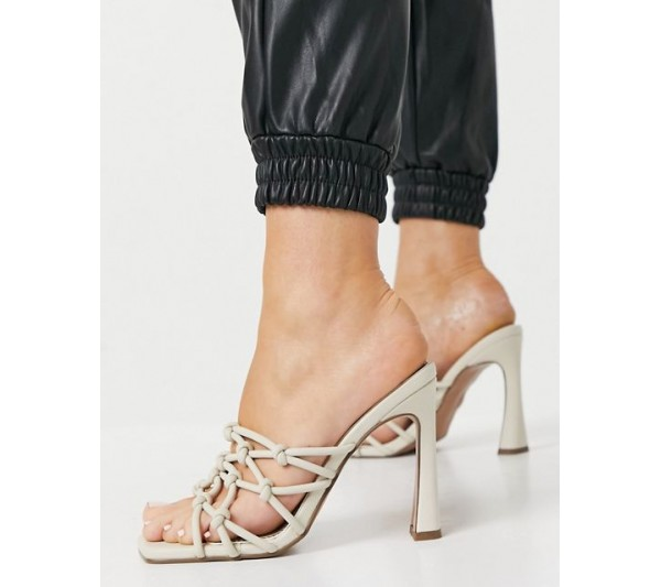 DESIGN Nako knotted heeled mules in off white