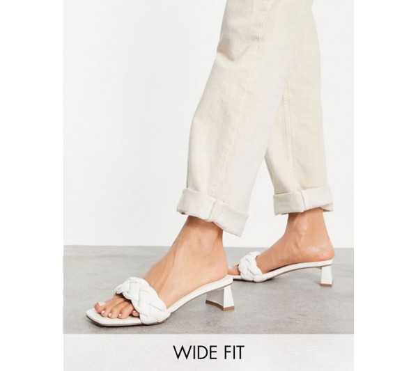 DESIGN Wide Fit Hosta weave mid heeled mules in white