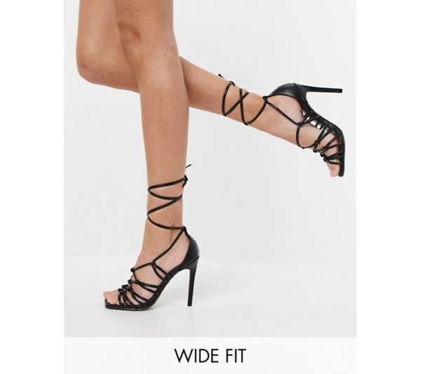 DESIGN Wide Fit Wallace knotted high heeled sandals in black