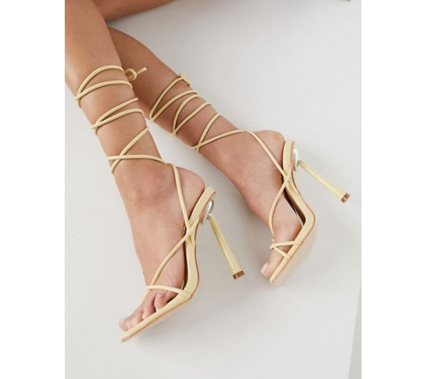 Public Desire Lacey heeled sandals with ankle tie in vanilla