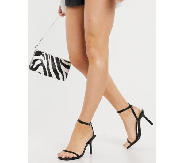 schuh Shea strappy heeled sqaure toe heeled sandals with contrast stitch in black