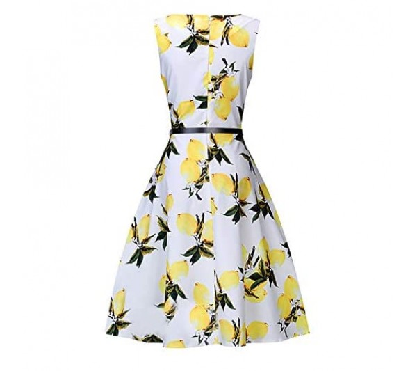 Janly Clearance Sale Dress for Womens Women Lemon Printing Sleeveless Casual Evening Party Prom Swing Dress Easter St Patrick's Day Deal