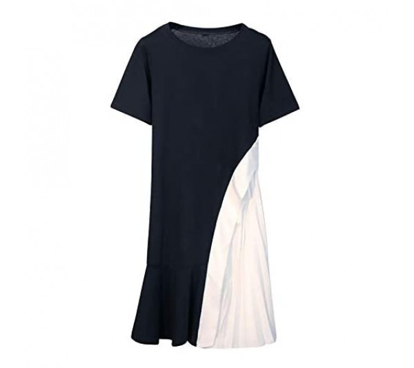 Janly Clearance Sale Womens Summer Dress Fashion Women Casual Short Sleeve O-Neck Ladies Patchwork Long Mermaid Dress Easter St Patrick's Day Deal