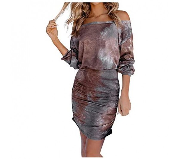YQRDSHJS Women'S Spring Printed One-Piece Collar Long Sleeve Sexy Hip Crinkle Dress Neckline Long-Sleeved Bag Pleated Dresses Women