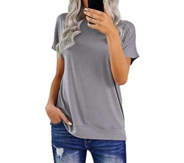 HOTAPEI Ladies Summer Crew Neck Striped Tee T Shirts Short Sleeve Tunic Tee T Shirts Tops Casual Pullover Baggy Blouses and Shirts
