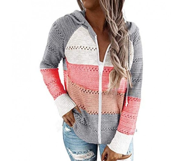 Women Zipper Knitted Hoodies Striped Color Block Hollow Out Cardigan Sweater Patchwork Sweatshirt Jumpers