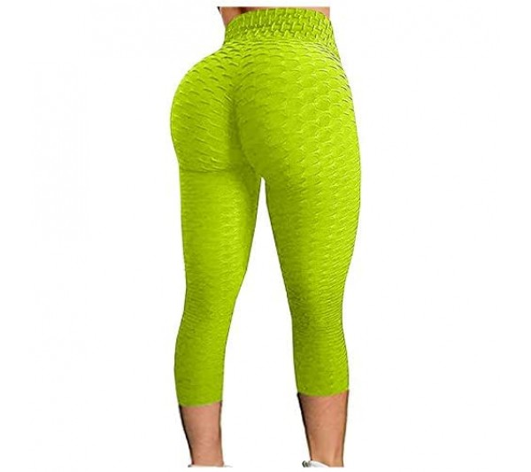 Zerototens Women High Waist Butt Lifting Bubble Cropped Yoga Pants Solid Color Training Running Workout Fitness Leggings Ladies Compression Contour Breathable Stretch Gym Tights