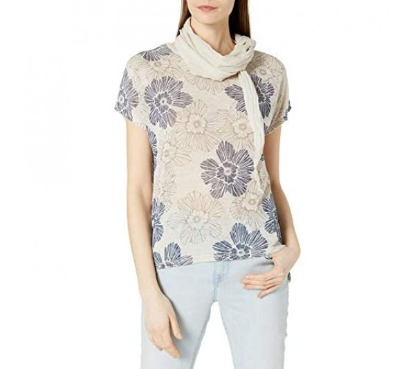 M Made in Italy Women's Knitted S/S Top with Woven Scarf Blouse