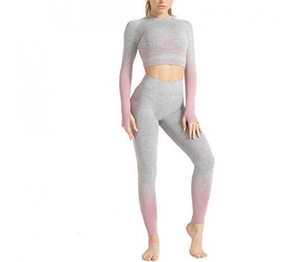 Aiweijia Women's Yoga Outfits 2 Pieces Set Seamless Long Sleeve High Waist Striped Leggings and Crop Top Fitness Sports Tracksuit Suits