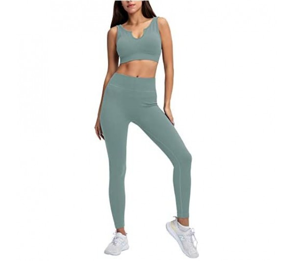 Baonmy Seamless Yoga Set for Women 2 Piece Outfits Sports Bra and Leggings Set Tracksuitfitnesss Workout Outfit Sport Gym Wear Clothes