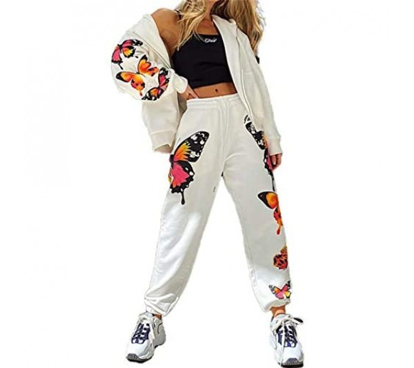 N / D 2pcs Butterfly Printed Sport Set Zipper Up Hooded Coats+Pants Fashion Tracksuit for Women Streetwear Female Clothes