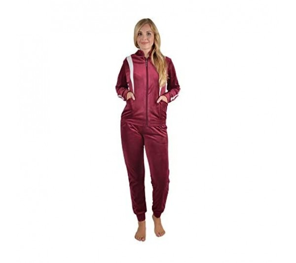 RAIKOU Leisure Suits Womens Velour Tracksuits Women Velour Leisure Suit Tracksuit Jogging Suit Pyjamas with Zip Top and Jogger Set