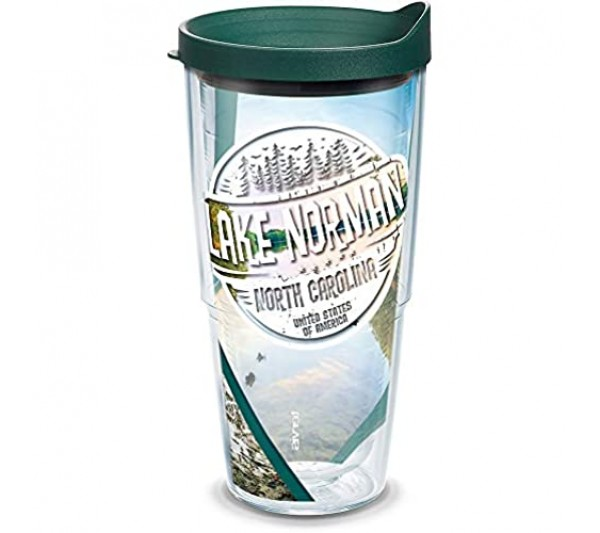 Tervis 1300403 North Carolina - Lake Norman Stamp Insulated Tumbler with Wrap and Hunter Green Lid Tritan Clear