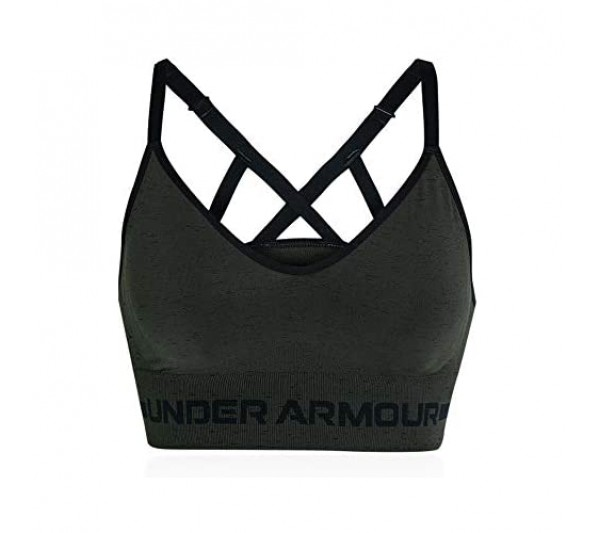 Under Armour Seamless Low Long Heather Women's Sports Bra - AW20 - Small Green