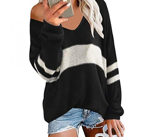 Style Dome Women's Long Sleeve Top Casual Knit Sweater Solid Color Jumper Long Sleeve Shirts Loose Sleeves Blouse V Neck Spacious Top