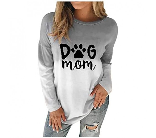 Whycat Plus Size Dog Mom Letter Printed Sweatshirt Women Tie Dyed Colour Gradient Pullover Sweatshirts Dog Lover Cute Girls Casual Tops Blouse