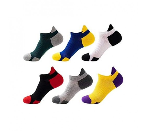 Zrilile 6 Pairs Low Cut Running Socks Cotton Colourful Ankle Trainer Sports Cushioned Unisex Socks Breathable Soft Comfortable For Men and Women Size:UK 6-10