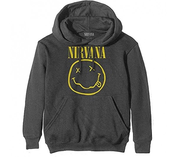 Nirvana Hoodie Yellow Smiley Band Logo Official Mens Charcoal Grey Pullover