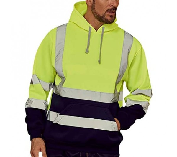 Rikay Safety Security Work Hoodie Hooded Top Plain Hoodie for Mens with Reflective Strip Hi Viz Visibility Sweatshirt Jumper Top Plus Size 10-18