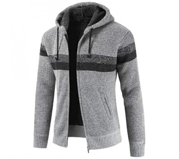 MENHG Men's Knitted Cardigan Jacket Hoodie Sweater Knitwear Jumper Full Zip Long Sleeve Patchwork Sweatshirt Coat Autumn Winter Sherpa Lined Mens Cardigan Pullover Drawstring Tops Blouse with Pocket