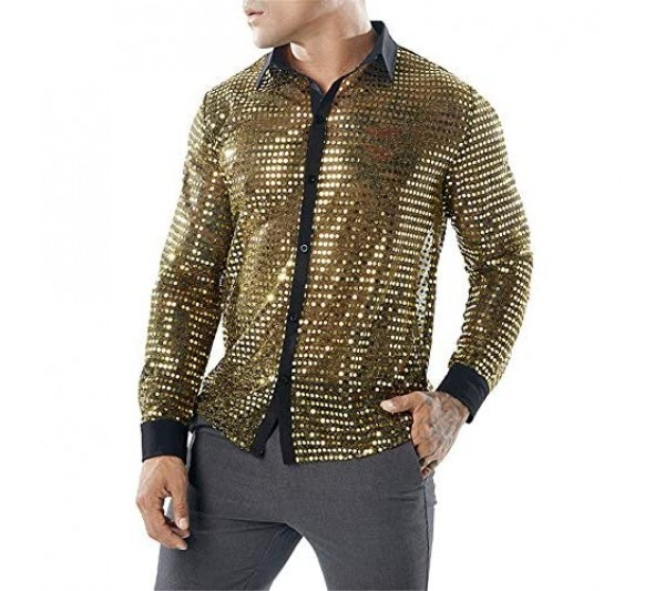 Men's Longsleeve Long Sleeve Shirt Sexy Slim Fit with Kent Collar Sequin Shirt 70S 80S Disco Shirt Shiny Blouse Costume Outfit Clubwear Party Hippy Tops