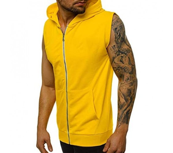Men's Sweatshirts Sleeveless Tops Hoodie Zip Up Workout Shirts Bodybuilding Training Gym Muscle Vest Tank with Pockets