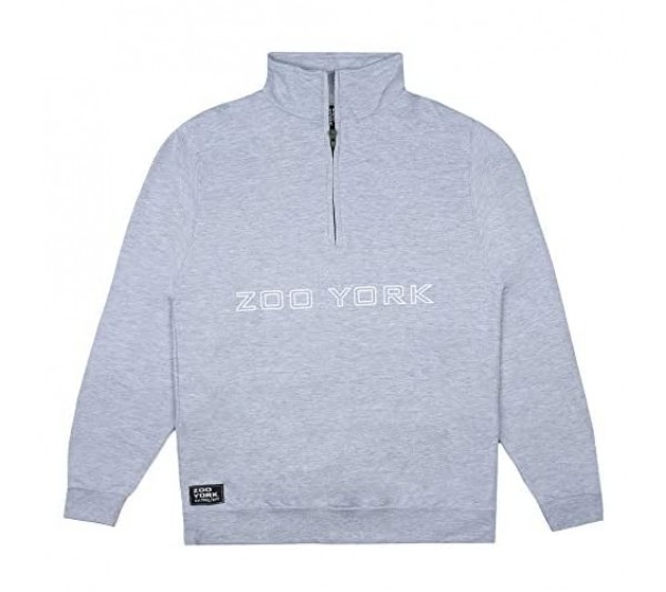 Zoo York Men's Bank Outline Zipped Crew Pullover Sweater