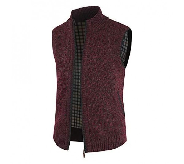 ZYUD Men's Lapel Vest Jacket Knitted Solid Color Sleeveless Essential Stand Collar Cardigan Knitted Coat Zip Up Knitted Sleeveless Cardigan Gilet Knitwear Tops Zipper Waistcoat Tank Tops