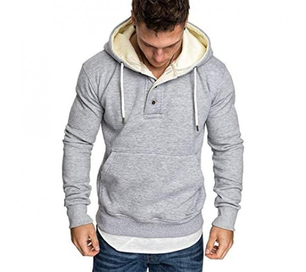 Men's Hoodie Mens Pullover Long-Sleeved One-Piece Hoody Sports Leisure T-Shirt Button Neck Practical Kangaroo Pocket Design Simple Convenient Cuff Splicing Drawstring Spring Autumn New Top