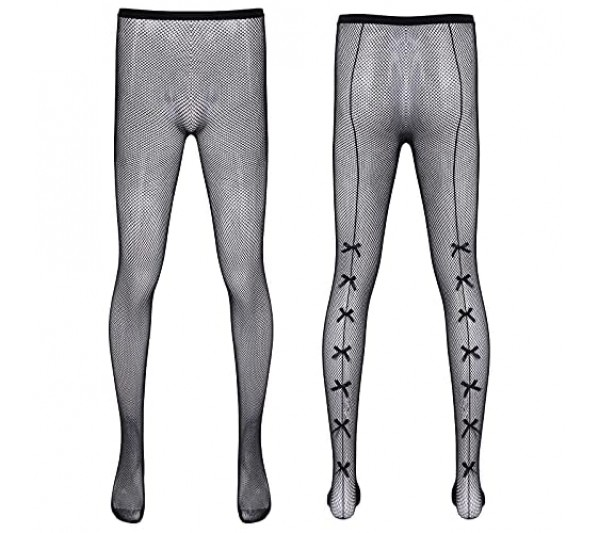 iixpin Mens Lace Sheer Mesh Stockings Leopard Bowknot Slim Tights Pantyhose Hosiery Sissy Legging Pants for Cosplay Party