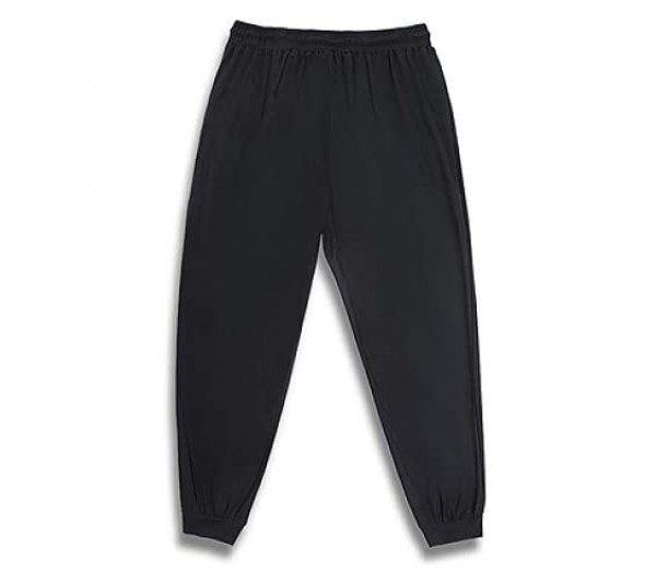 Mens Elasticated Waist Printed Trousers Exercise Cycling Comfortable Large Size Basic Sweatpants with Zipper Pockets