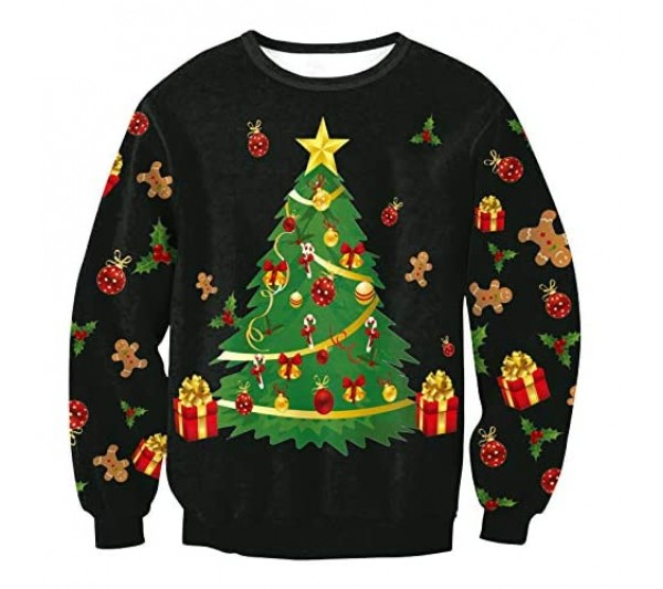 Lushi Christmas Men's and Women's Casual Pullover Long Sleeve Round Neck Christmas top 3D Printing Funny Pullover