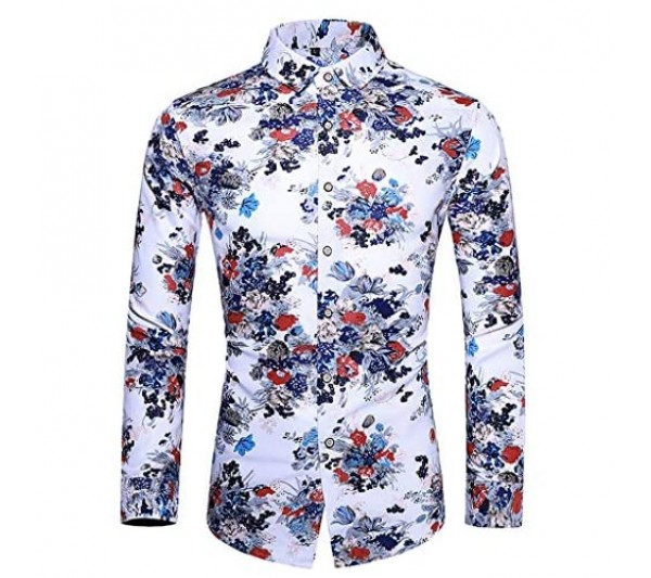 Mens Casual Sweatshirt Long Sleeve Pullover Large Men Shirt Hawaii Style Flower Print Shirt Slim Fit Breathable Basic Tee Classic Heavy Plus Size Loose Top Lapel Leisure Pullover