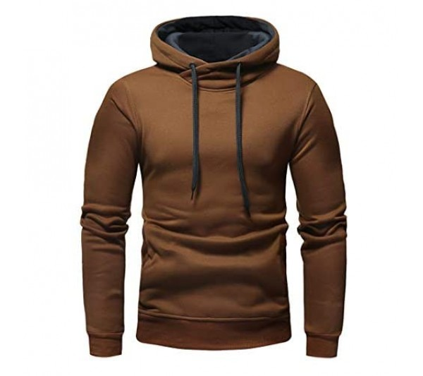 Men's Pullover Mens Casual Long Sleeve Solid Color Hoodie with Kangaroo Pocket Fashion Classic Comfy Cotton Hoodies Pullover Spring Autumn New Sweatshirt Running