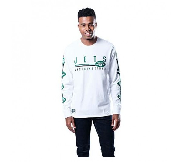 Ultra Game NFL New York Jets Mens Active Basic Long Sleeve Tee Shirt Team Color Small