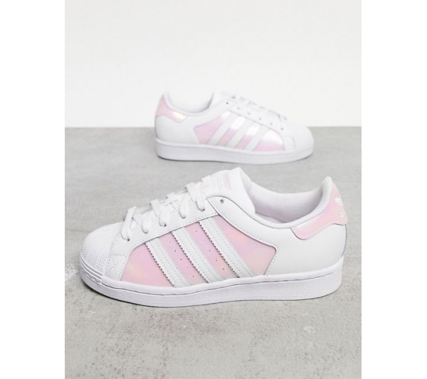 adidas Originals Superstar trainers in white and pink