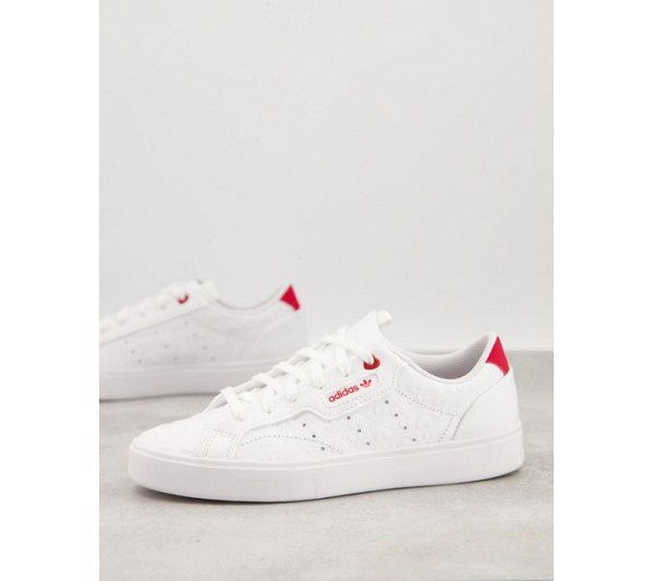 adidas Originals Valentines Sleek trainers in white with heart print