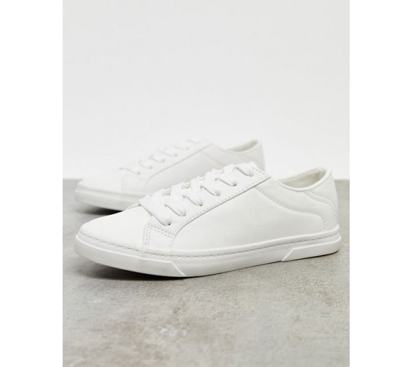 New Look lace up trainer in white
