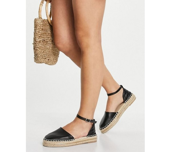 New Look quilted back strap espadrille in black