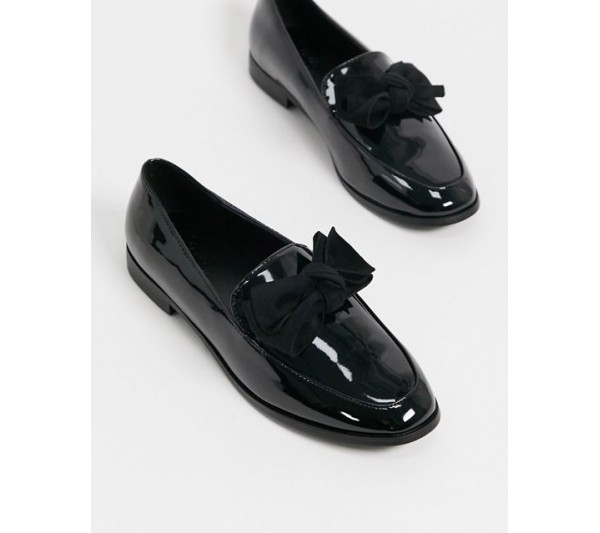 DESIGN Mollie bow flat shoes in black patent