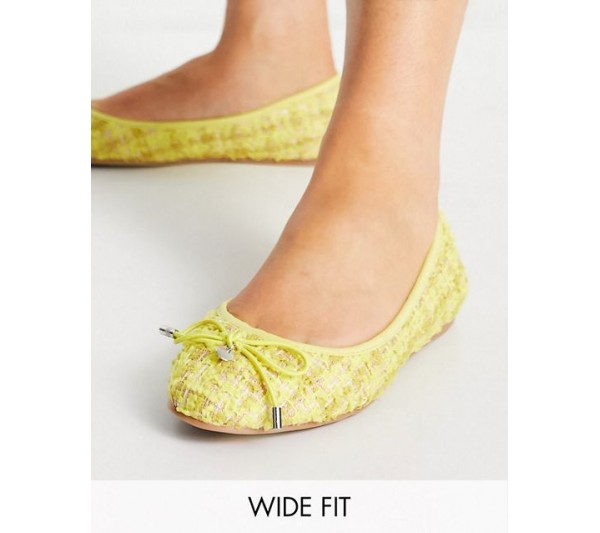 DESIGN Wide Fit Lallie round toe ballet in yellow tweed