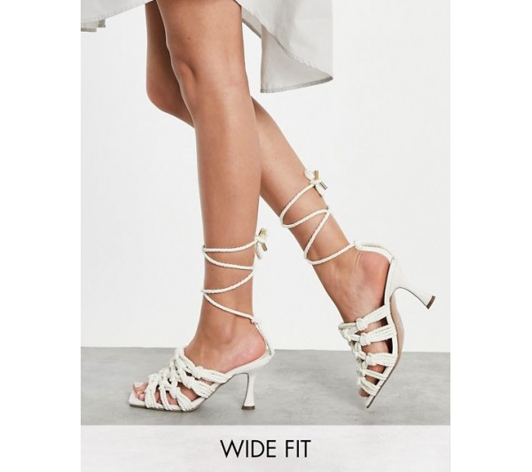DESIGN Wide Fit Henley rope detail tie leg mid heeled sandals in natural