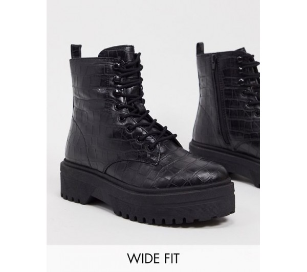 Simply Be wide fit lace up chunky boots in black croc