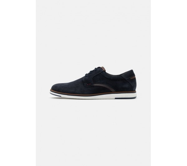 Pier One LEATHER - Casual lace-ups - dark blue